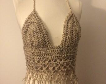 Crochet halter top, summer festival top, fringe crochet halter