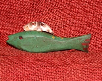 Hand Carved FIsh Decoy with Copper Fins