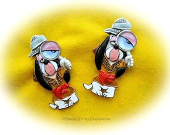 Brooch detective dog Droopy - Polymer clay brooch - Original jewelry - Cartoons - Best gift