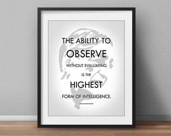 Spiritual Philosophical Poster Jiddu Krishnamurti Quote 2 styles for 1! Yoga poster Meditation Spiritual Philosophy Poster