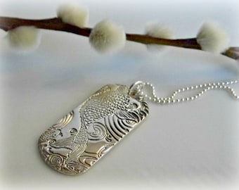 Bespoke Fine Silver Carp Dog Tag with Sterling Silver Ball Chain