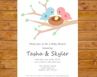 Bird Nest Baby Shower Invitation - Bird Baby Shower Invitation - Bird Themed Invitation - Gender Neutral - Printable, Custom, Digital File