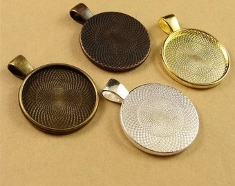 40PCS Blank Pendant Trays Round Bezel Cabochon Settings, 25mm, 5 Colors As Your Choice- XA1233