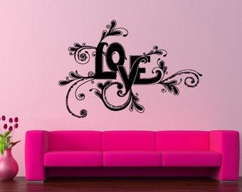 Wall Vinyl Sticker Decals Mural Room Design Heart  Love Romantic bo030