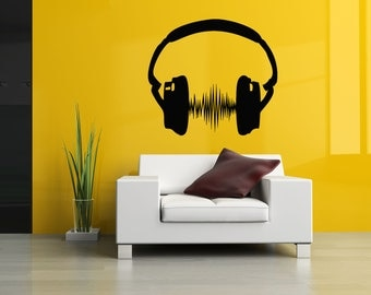 Wall Vinyl Sticker Decals Mural Room Design Pattern Music Melody Headphones bo309