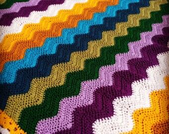 Crocheted ripple blanket-crochet ripple afghan