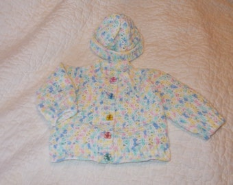 Butterfly multi color hat and sweater