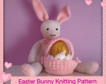 Bunny with Basket knitting pattern - Easter bunny toy knitting pattern