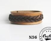 Handmade Leather Bracelet Cuff with braided leather overlap-  Wristband Cuff - Women Bracelet- Craftive Design - Free shipping