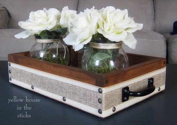 Serving tray centerpiece storage coffee table