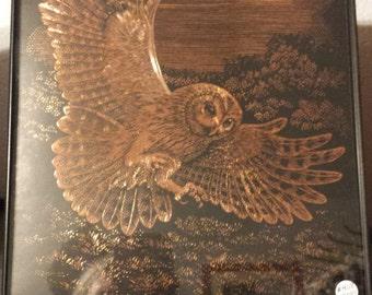 Copper Foil Art of Owl Flying