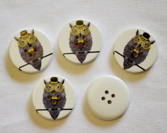 Wise owl wood buttons (2)    x6 large scrapbook birds white black