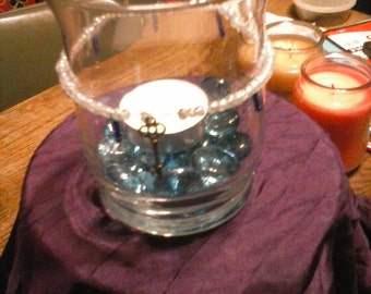 Clear Glass Votive Candle Holder with blue accents and beads