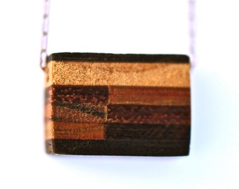 Minimalist Jewelry Cube Necklace Minimalist Wood Necklace Tiny Cube Necklace Striped Wood Cube Necklace One Of A Kind Timber and Chain