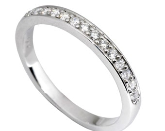 0.22ct Traditional Bridal 14K White Gold Wedding Band with Diamonds