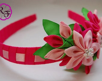 Kanzashi Flowers  , Pink Flowers Headband