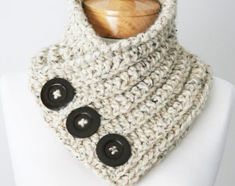 Chunky Button Scarf, Chunky Knit Scarf