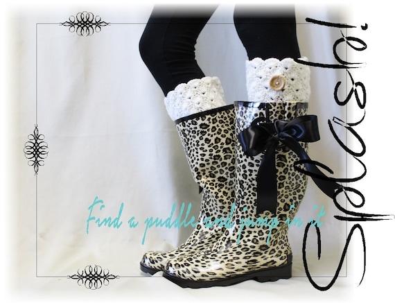 Leopard cheetah print rain boots wellies by VerveandSpirit on Etsy