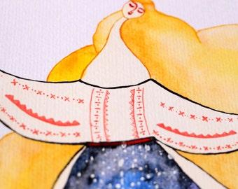 You Are My Sun and My Stars - Romanian Folk Inspired Illustration - A4 Print - Giclée print