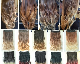 """22"""" One Piece Clip in Dip dye Ombre Hair Extensions Synthetic Straight Curly Wavy"""