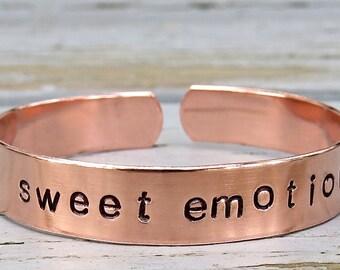 SWEET EMOTION handstamped bracelet, Aerosmith bangle, classic rock bracelet, song bracelet, aluminum or copper, textured