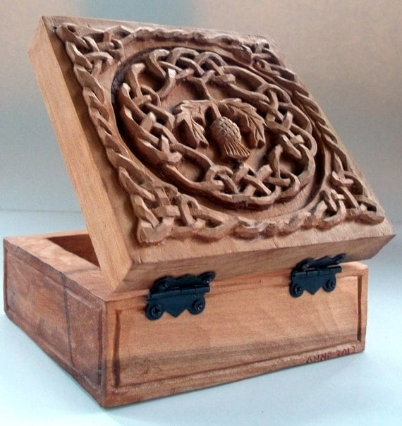 Celtic thistle box wood carving handmade woodcarving x