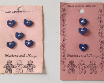 Vintage Ceramic Heart Buttons