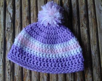 Knit Crochet baby girl beanie - Handmade - Baby Shower Gift - MADE TO ORDER