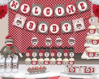 Sock Monkey Baby Shower Party Decorations Supplies - Super Set Party Kit PK-5