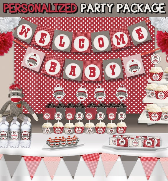 sock monkey baby shower party decorations supplies super set party
