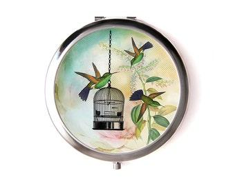 Hummingbirds pocket mirror & Organza pouch
