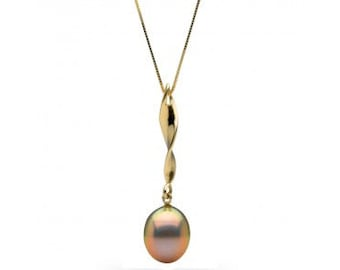Metallic Pink-Peach Freshwater Drop-Shape Pearl Icicle Pendant, 11.0 to 12.0mm, 14K Yellow Gold