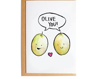 Olive You - A6 Blank Card - Watercolour