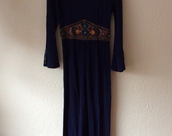 Vintage 70s hand painted maxi cheesecloth medieval hippy dress small