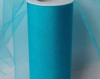 "TURQUOISE SHIMMER GLIMMER Tulle Fabric Spool Roll 6"" X 25 Yards Tutu Costume Wedding Bridal Bows Ribbon"