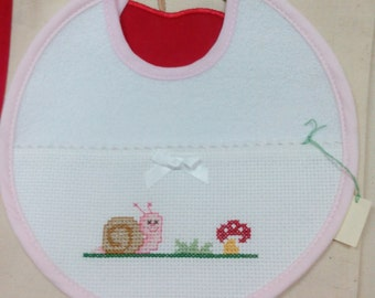 2 cross stitch embroidered Bib with snail