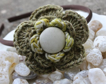 Olive flower headband for child or baby