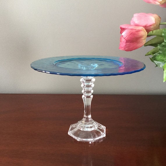 Pedestal dish aqua blue glass cake stand by studiolorianna for Colored glass cake stand