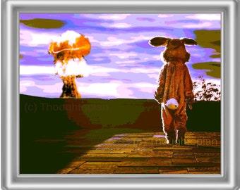 Surreal Rabbit Art Print 8 x 10 – Atomic Bomb – Visionary Art – Apocalyptic – Pop Art – Surrealism – Bunny Man