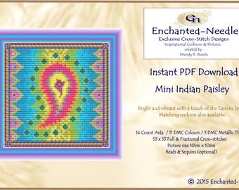 Indian Paisley Cross Stitch Colour PDF DMC Chart // Cross Stitch Pattern // Instant Download // Cross Stitch PDF