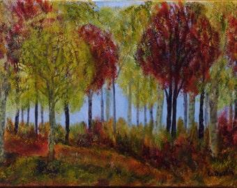 Beautiful autumn forest, Original Painting, Original Landscape, Handmade by Silvia Dimova