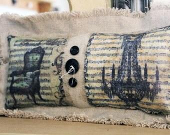 Shabby Burlap Pillow,Handmade Pillow,Shabby Style,Unique Pillow,Home Decor Pillow,Decorative Pillow,Shabby Elegance,Shabby Music Notes