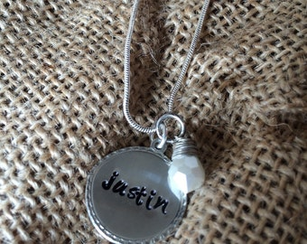 Silver personalized hand stamped necklace with pearl bead. 16 inch adjustable chain.