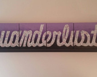 Canvas Artwork: Wanderlust, Hombre Purple Background with Map Lettering