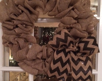 Burlap wreath, Chevron wreath