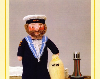 PDF Vintage Woolly Wotnot Knitting Pattern – The Sailor, Doll, Toy - PDF instant download