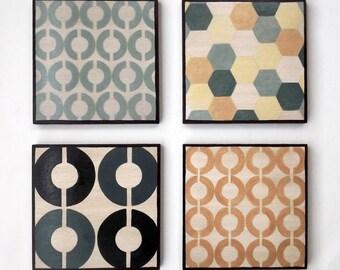 Large Paintings Mid Century Geometric Design Set of 4 Art Blocks