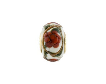 PERLAVITA Large Hole Murano Glass Off-White with a Deep Red Peony Flower and Vermeil Insert