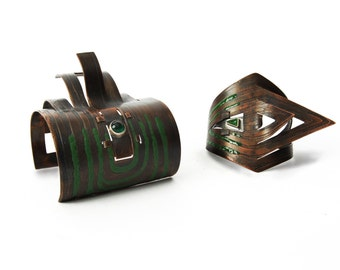 Two Enameled Copper Bangles, Contemporary Handmade Jewelry by MENGXUAN LIU