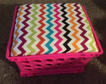 Classroom storage crate seats! Great for small group tables, classroom libraries, and more. Made to order with fabric/pattern/color you want